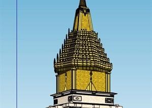 东南亚风情景观塔楼设计SU(草图大师)模型