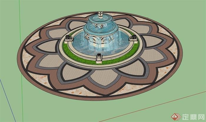欧式风格圆形喷泉水池设计su模型,模型包含了地面铺装、水钵素材设计,模型有材质贴图,细节处理得当,可直接下载用于相关园林景观设计使用,欢迎下载。