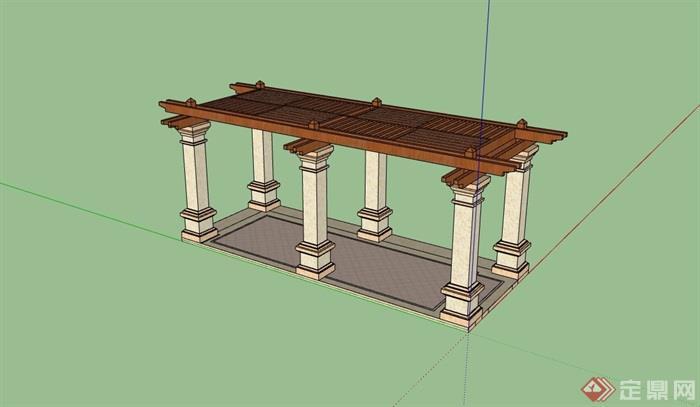 园林景观简欧风格廊架素材设计su模型