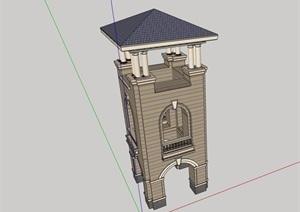 法式风格详细的塔素材设计SU(草图大师)模型
