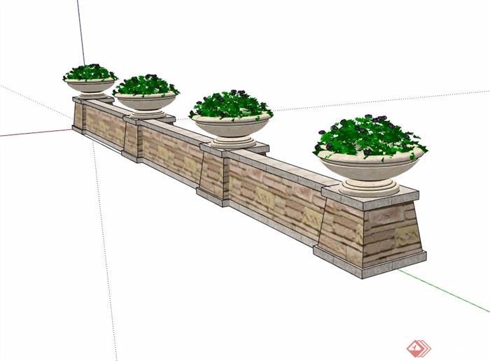 现代风格挡墙花钵素材设计su模型