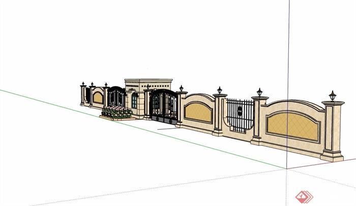 欧式风格详细的围墙大门素材设计su模型