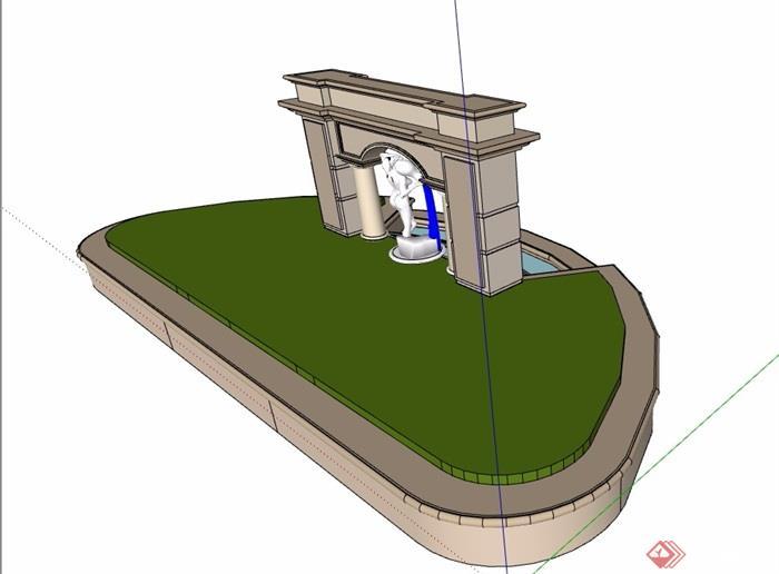 欧式风格详细的景墙水池设计su模型