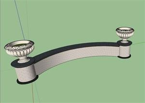 弧形坐凳素材设计SU(草图大师)模型