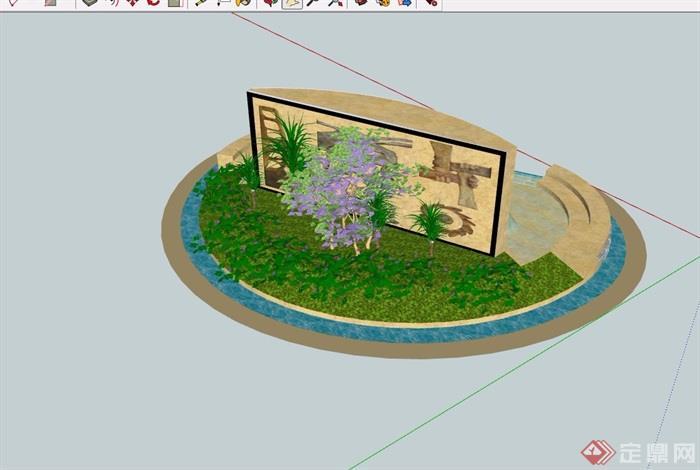 详细的景墙水池景观设计su模型