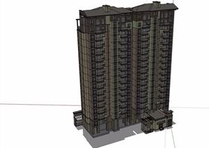 欧式风格商业住宅高层小区楼SU(草图大师)模型