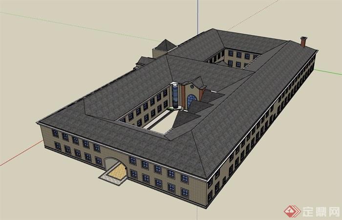 两层欧式风格详细的学校教育建筑楼su模型