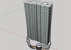 商住一体详细的高层建筑楼设计SU(草图大师)模型