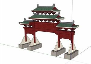 古典中式详细牌坊门素材设计SU(草图大师)模型