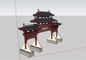详细的经典牌坊素材设计SU(草图大师)模型