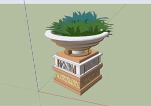 经典详细完整的花钵素材设计SU(草图大师)模型
