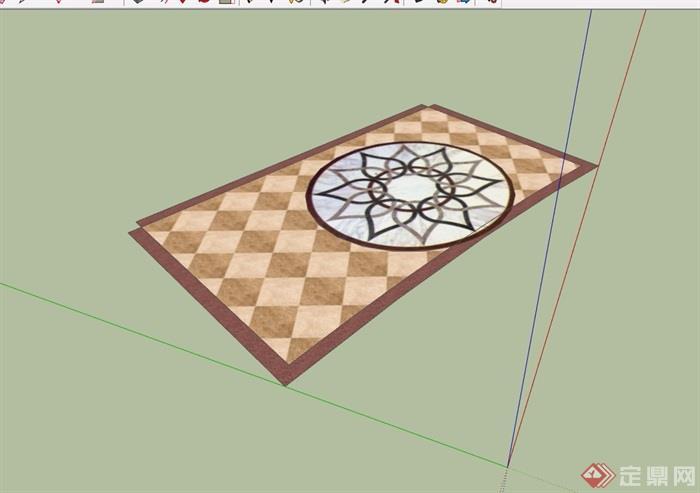 地面拼花素材设计su模型