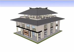 三层旅游景区观景楼建筑SU(草图大师)模型
