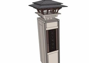 古典中式详细塔楼素材设计SU(草图大师)模型