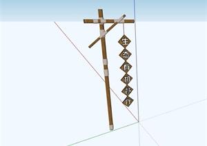 中式详细的标志牌素材设计SU(草图大师)模型