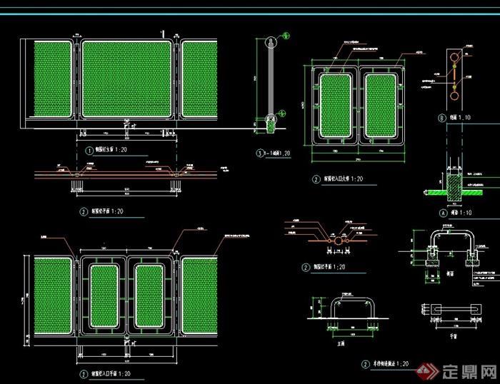 钢做法施工cad设计围栏cad各版本比较图片