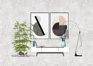 现代电视柜竹子落地灯鹅卵石组合SU(草图大师)模型