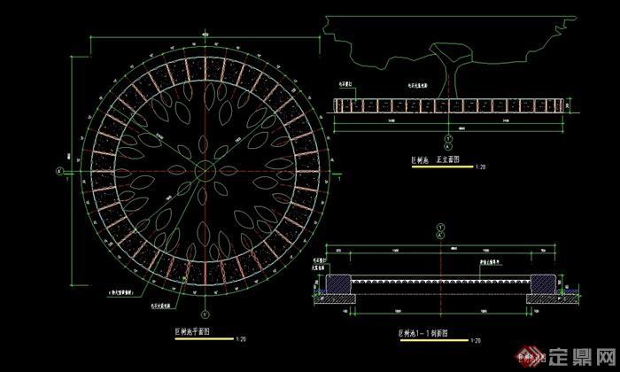 [stool pool 017] 圆形完整详细的树池设计cad施工图,图纸包含了详细图片