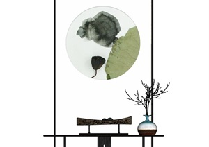 新中式案台装饰品枯枝组合SU(草图大师)模型