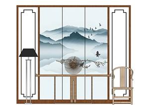 新中式玄关案台装饰品组合SU(草图大师)模型