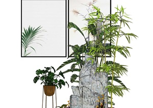 新中式假山竹子植物组合SU(草图大师)模型