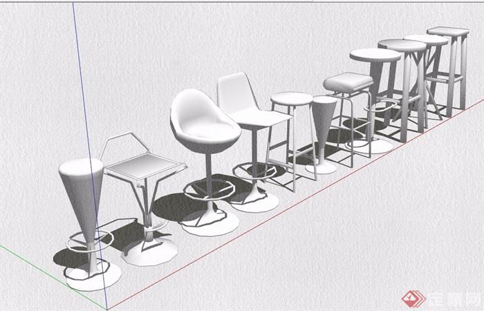 11种摆台坐凳设计su模型