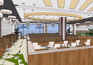 快餐店的室内设计SU(草图大师)模型