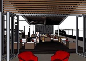 现代酒店咖啡吧室内设计SU(草图大师)模型