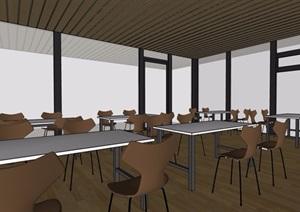 现代湖边餐厅空间设计SU(草图大师)模型