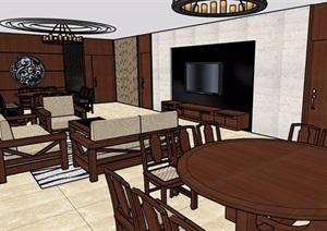 某现代详细的住宅室内空间设计SU(草图大师)模型
