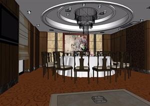 中式餐厅包厢设计SU(草图大师)模型