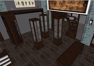 现代中式古典商业茶馆室内设计SU(草图大师)模型