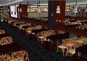 中式餐厅室内设计精细SU(草图大师)模型