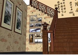现代中式餐厅SU(草图大师)模型