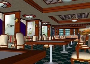 西餐厅详细室内SU(草图大师)模型