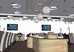 详细完整的餐饮空间室内SU(草图大师)模型