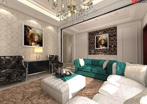 欧式客厅详细室内SU(草图大师)模型含效果图