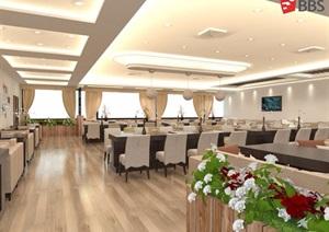 餐厅详细室内空间设计SU(草图大师)模型带效果图餐厅