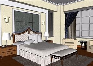 欧式风格详细的卧室设计SU(草图大师)模型