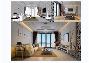 现代客厅详细设计SU(草图大师)模型带效果