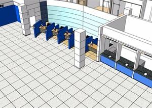 某银行室内办公空间SU(草图大师)模型