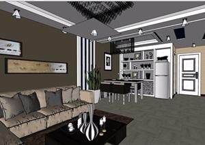 住宅室内客餐厅空间室内SU(草图大师)模型