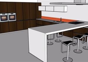 开放式厨房设计SU(草图大师)模型