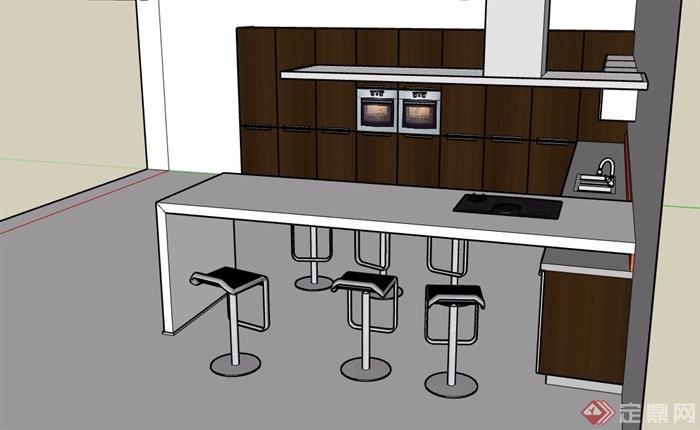 开放式厨房设计su模型