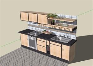 某厨房橱柜素材设计SU(草图大师)模型