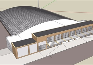 某城市火车站建筑设计SU(草图大师)模型