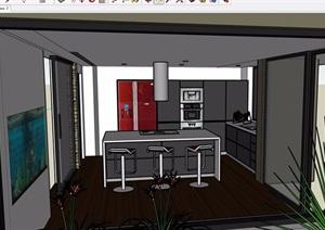 现代厨房餐厅室内SU(草图大师)模型