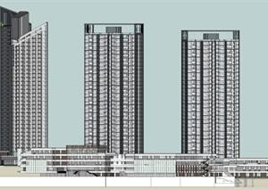 现代风格高层住宅SU(草图大师)模型 05