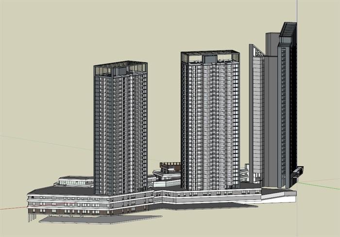 现代风格高层住宅su模型 05[原创]