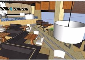 现代详细的餐饮空间室内设计SU(草图大师)模型